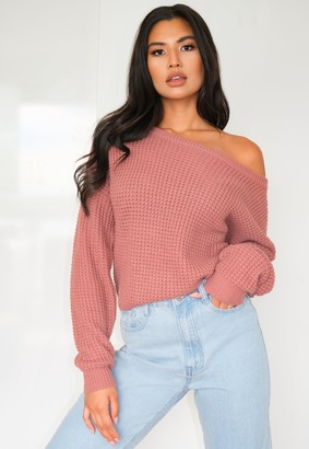 Missguided Petite Pink Off The Shoulder Knitted Jumper