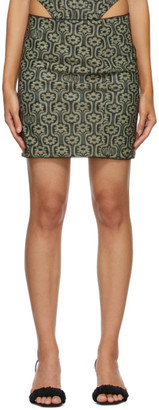 Miaou Green and Black Mesh Moni Miniskirt
