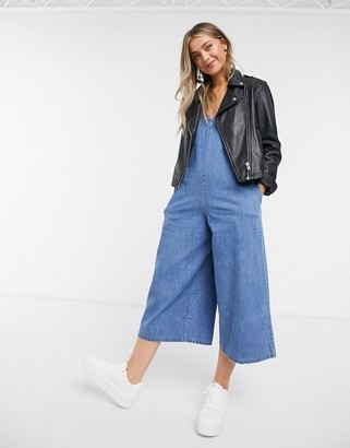 ASOS DESIGN soft denim slouchy v-neck jumpsuit in blue