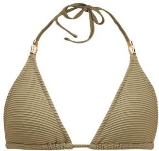 Heidi Klein Venice Pintuck-pleated Padded Triangle Bikini Top - Khaki