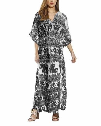 VONDA Womens Maxi Dresses Casual Bohemian Short Sleeve Summer V Neck Retro Caftans for Women Long Dress A-Navy XL