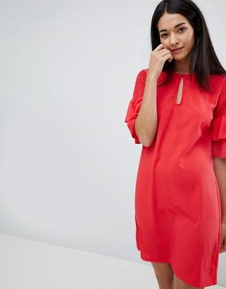 Vila Keyhole Dress With Tiered Sleeve-Pink