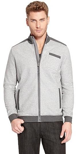 HUGO BOSS Cannobio Cotton Zip Up Sweatshirt - Medium Grey