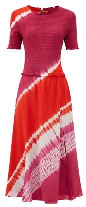 Altuzarra Ayumi Shirred Shibori-dyed Silk Midi Dress - Pink Print