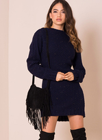 Missy Empire Celia Navy Cable Knit Dress