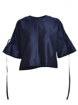 Eudon Choi Flounced Sleeve Navy Brett Top