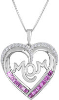 JCPenney FINE JEWELRY Lab-Created Pink and White Sapphire Mom Heart Pendant Necklace