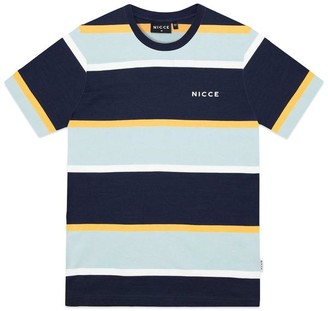 Nicce Pillar Stripe T Shirt Navy Blue Apricot - Small