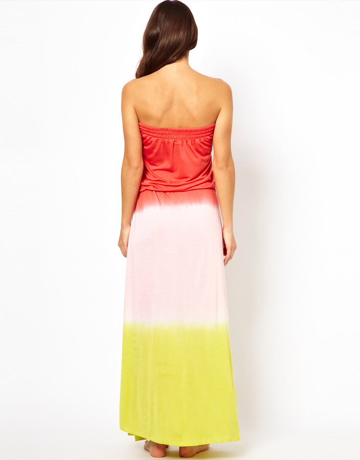 South Beach Tie Dye Ombre Jersey Maxi Dress With Drawstring