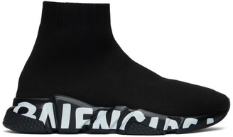 Balenciaga Black Graffiti Sole Speed Runner Sneakers