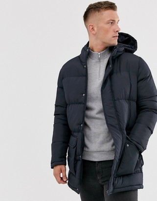 French Connection longline padded hooded parka-Navy