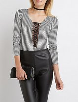 Charlotte Russe Striped Lace-Up Bodysuit