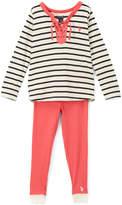 U.S. Polo Assn. White & Black Stripe Long-Sleeve Top & Leggings - Toddler & Girls