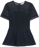 MICHAEL Michael Kors Broderie Anglaise Cotton-blend Peplum Top - Midnight blue