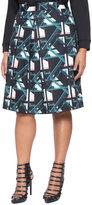 ELOQUII Plus Size Pleated Geometric Skirt