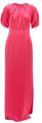 Beulah - Nidhi Open-back Silk-satin Dress - Womens - Pink