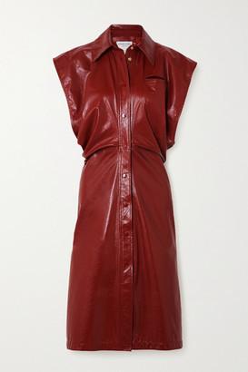 Bottega Veneta Cutout Patent-leather Midi Dress - Orange