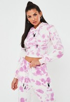 Missguided Playboy X Pink Tie Dye Fitted Cropped Hoodie