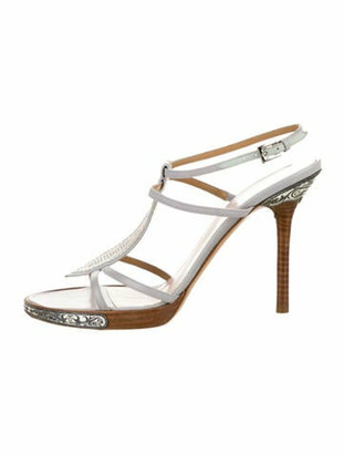 Valentino Leather Crystal Embellishments T-Strap Sandals Grey