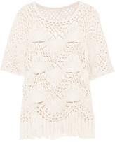 Chloé Fringed Crocheted Cotton And Silk-blend Top - Ivory