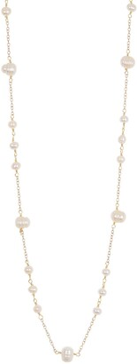 "ADORNIA 14K Yellow Gold Vermeil 36"" Freshwater Pearl Station Necklace"