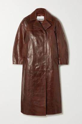 Ganni Oversized Leather Coat - Dark brown