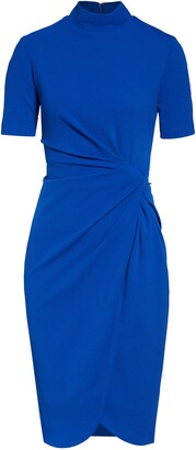 Tahari Mock Neck Stretch Crepe Sheath Dress