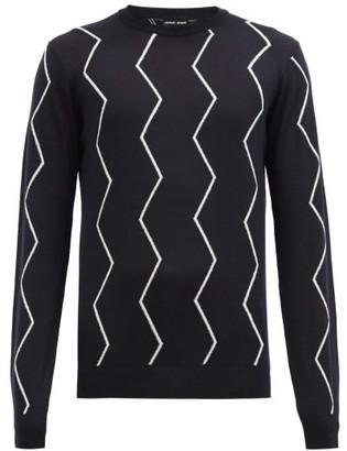 Giorgio Armani Zigzag-jacquard Wool-blend Sweater - Navy