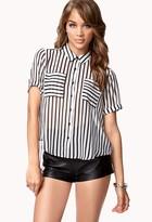 Forever 21 Split Back Striped Shirt