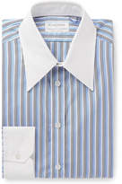 Kingsman + Turnbull & Asser Rocketman Blue Slim-Fit Striped Cotton Shirt