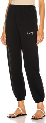 Off-White Logo Slim Sweatpant in Black & White | FWRD