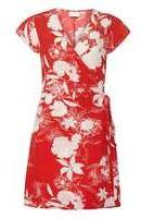 Dorothy Perkins Womens **Vila Red And White Abstract Floral Print Wrap Dress- Red And White