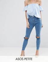 Asos RIDLEY Skinny Jeans in Luella Pretty Blue with Frill Knee and Arched Raw Hem