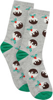 Yours Clothing Grey & Multi Christmas Pudding Socks In Gift Bauble