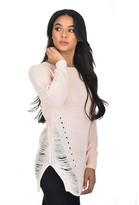 AX Paris Pink Cable Knit Laddered Jumper
