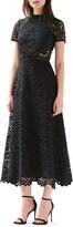 ML Monique Lhuillier Short Sleeve A-Line Lace Midi Dress
