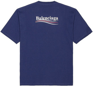 Balenciaga Short Sleeve Large Fit Tee in Pacific Blue & White | FWRD
