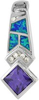 Sabrina Silver Sterling Silver Amethyst CZ Pendant Synthetic Opal Inlay 9 mm Square 1 3/8 inch long