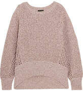 Rag & Bone Athena Metallic Ribbed And Open-knit Cashmere-blend Sweater - Pink