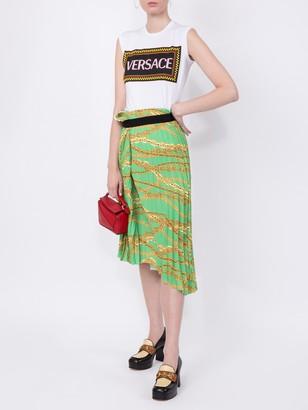 Balenciaga Asymmetrical Pleated Chain-print Skirt