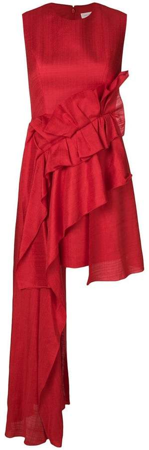 DELPOZO asymmetric ruffle panel dress