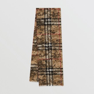 Burberry Lightweight Camouflage Check Wool Silk Scarf