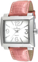 Peugeot Women's Silver Tone Rectangle Pink Leather Strap Watch