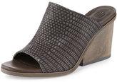 Coclico Anemet Embossed Leather Mule Sandal, Black