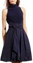 Lauren Ralph Lauren Mixed Media Mock Neck Dress
