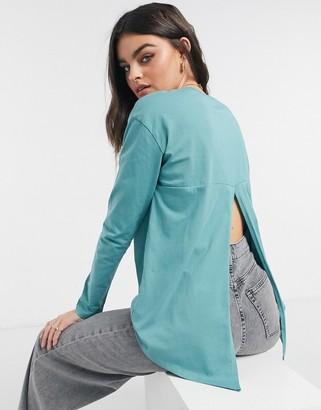 ASOS DESIGN long sleeve t-shirt with slit back in teal