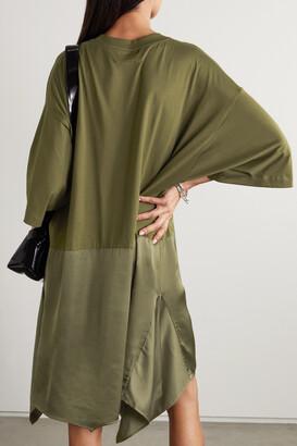 MM6 MAISON MARGIELA Asymmetric Cotton-jersey And Satin Dress - Green