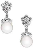 Nadri Sparkling Pearl Semi-Drop Earrings