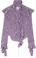 Vetements Ruffled Floral-print Stretch-jersey Blouse - Lavender