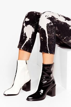 Nasty Gal Womens Embrace Our Differences Faux Leather Two-Tone Boots - Black - 5, Black